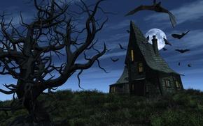 Wallpaper Halloween, Halloween, scary, bats, bats, full moon, full moon, Haunted house, Haunted House, scary, spooky ...