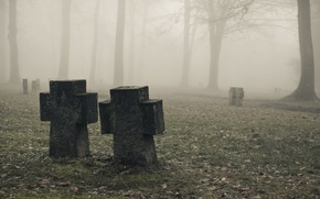 Picture Mist, Fog, Fog, Cemetery, tombstones