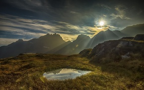 Picture the sun, light, mountains, dawn, morning