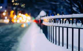 Wallpaper snow, winter, road, fence, lights, bokeh, the fence, night