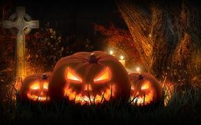 Wallpaper night, rendering, holiday, cross, pumpkin, Halloween