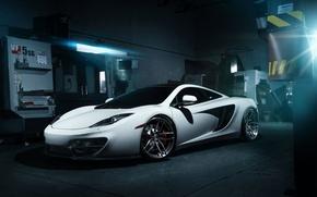 Picture McLaren, Front, MP4-12C, White, Wheels, Garage, ADV.1, Ligth