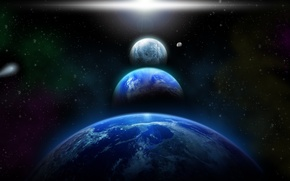Picture sci fi, blue, planets