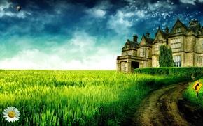 Picture the sky, grass, trees, landscape, castle, Daisy
