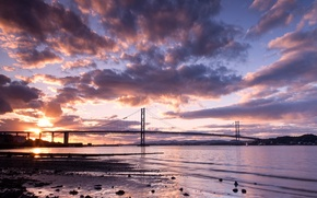 Picture the sky, clouds, landscape, sunset, bridge, nature, river, Scotland