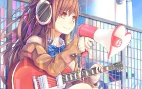 Picture girl, guitar, anime, headphones, art, loudspeaker, dararito