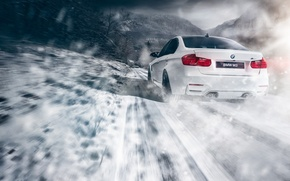 Picture BMW, Car, Speed, Snow, White, Sport, Road, Rear