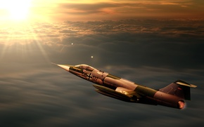 Wallpaper sunset, jet, interceptor, starfighter, f104