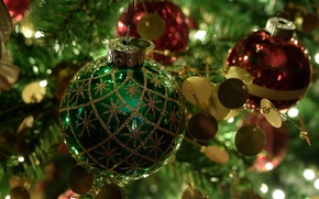 Picture toys, tree, new year, ball, Christmas, the tameing