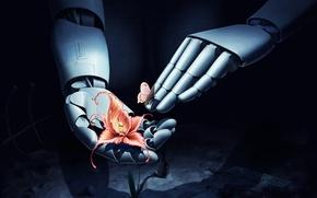 Picture flower, butterfly, robot, hands, art