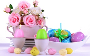 Picture roses, eggs, Easter, pink, flowers, eggs, easter, roses, candle, serving