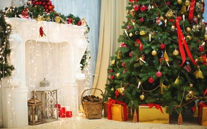 Wallpaper fireplace, lights, Christmas, New year, tree, toys, basket, decoration, tree, gifts, garland