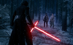 Picture forest, snow, trees, night, fiction, sword, Finn, Star Wars: The Force Awakens, Kylo Ren, Star …