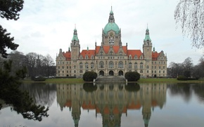 Picture landscape, pond, reflection, Germany, Hanover, new town hall