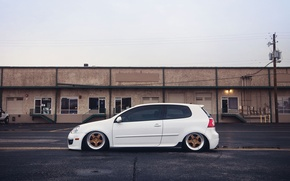 Picture white, golf, stance, profile, mk5, Volkswagtn