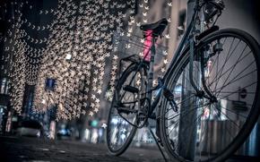 Wallpaper road, night, bike, the city, lights, street, bokeh