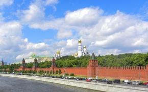 Wallpaper road, panorama, the Kremlin, river, Moscow
