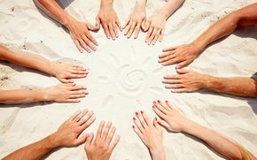 Picture sand, the sun, round, hands, friendship, team, fingers, nails