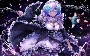 Picture girl, the demon, anime, art, rem, re zero kara hajime chip isek or seikatsu
