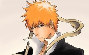 Picture look, guy, Bleach, Bleach, dissatisfaction, Kurosaki Ichigo, art, the hilt of the sword, Shinigami, Tridyrium