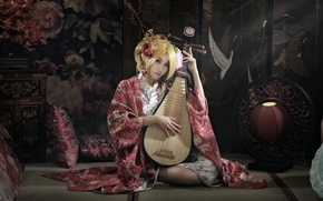 Picture girl, music, Asian