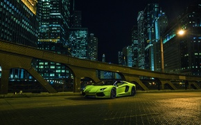 Picture Roadster, Lamborghini, City, Chicago, Green, Front, Downtown, LP700-4, Aventador, Supercar, Nigth