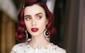 Picture background, model, portrait, earrings, makeup, dress, actress, hairstyle, bokeh, Lily Collins, Lily Collins, Who What …
