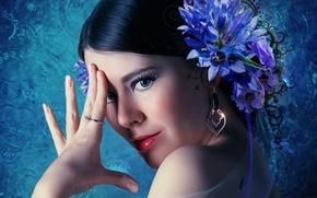 Picture flower, look, girl, brunette
