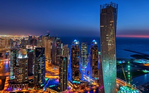 Picture the city, lights, building, road, home, skyscrapers, the evening, lighting, backlight, panorama, Bay, Dubai, Dubai, …