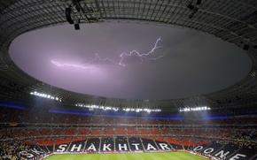 Picture football, lightning, stadium, Donetsk, Miner, Donbass Arena, EURO 2012, Donetsk, Donbass Arena