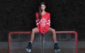 Picture girl, gate, Canada, form, girl, hockey, Nicole, skates