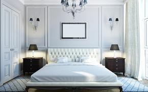 Picture room, Villa, interior, chandelier, mansion, luxury, bedroom, bedroom