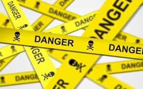 Picture danger, warning, skull, bones, tape, danger