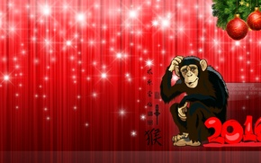 Picture red, background, new year, monkey, fire, 2016