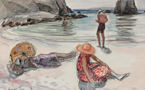 Picture picture, genre, stay, Henri Lebacq, shore, people, sea, The Isle of Crozon, the Beach of ...