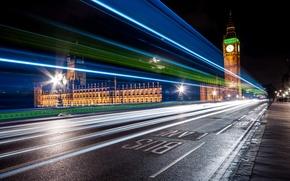 Picture night, the city, lights, street, England, London, excerpt, big Ben