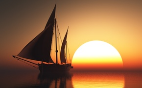 Picture sunset, sailboat, Sea
