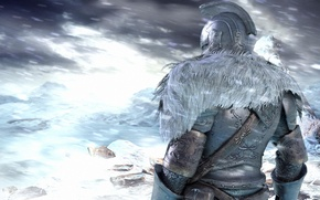 Picture winter, snow, mountains, armor, soldiers, Warrior