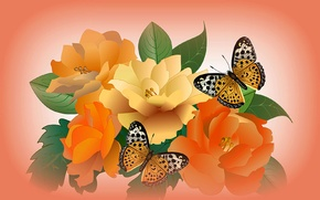 Picture flowers, collage, butterfly, vector