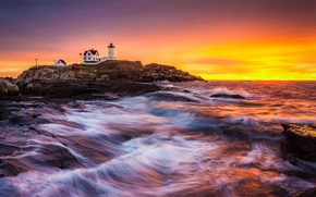 Wallpaper sea, the building, lighthouse, dawn, rocks, landscape