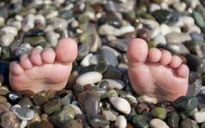 Picture sea, beach, summer, situation, the trick, feet.pebbles