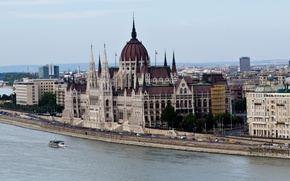Picture river, promenade, Palace, Hungary, Budapest, Parliament