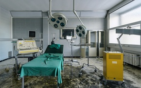 Wallpaper room, Windows, stretcher, clinic, heater, refused, medical devices