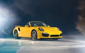 Picture yellow, Porsche, convertible, Porsche, yellow, Cabriolet, 991, Turbo S