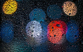 Picture glass, lights, rain