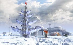 Picture tree, base, jet, Rover, polar