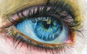 Picture eyelashes, reflection, painting, children's eyes