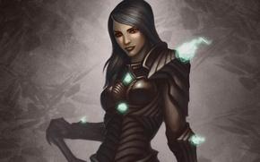 Picture girl, magic, glow, art, armor, Bruce Mashbat