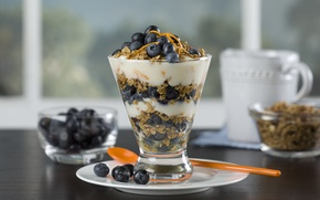 Picture food, blueberries, fruit, cream, dessert, fruits, cream, dessert, breakfast, blueberries, Breakfast muesli, muesli
