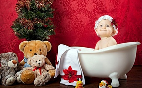 Picture toy, girl, bath, tree, cap, baby, child, Teddy bear, ducks